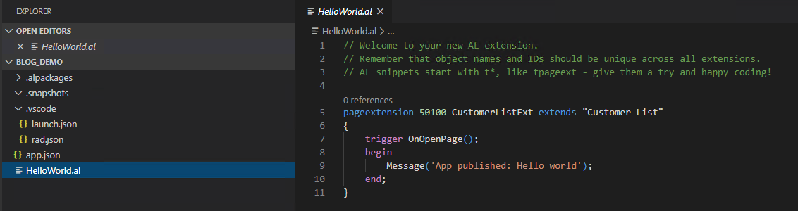 Screenshot_Visual Studio Code_Hello World
